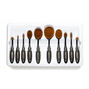 Ghalichi Glam 10 Piece Oval Makeup Brush Set - Black