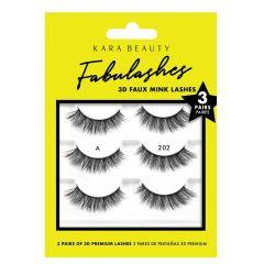 Kara Beauty 3D Faux Mink Lashes 3 Pairs A202