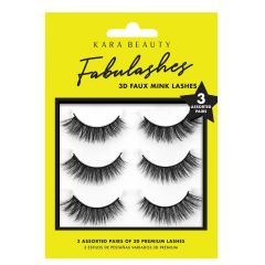 Kara Beauty 3D Faux Mink Lashes 3 Pairs Assorted